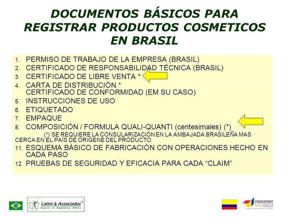 DOCUMENTOS BÁSICOS PARA REGISTRAR PRODUCTOS COSMETICOS EN BRASIL 1. PERMISO DE TRABAJO DE LA EMPRESA (BRASIL) 2. CERTIFICADO DE RESPONSABILIDAD TÉCNIC