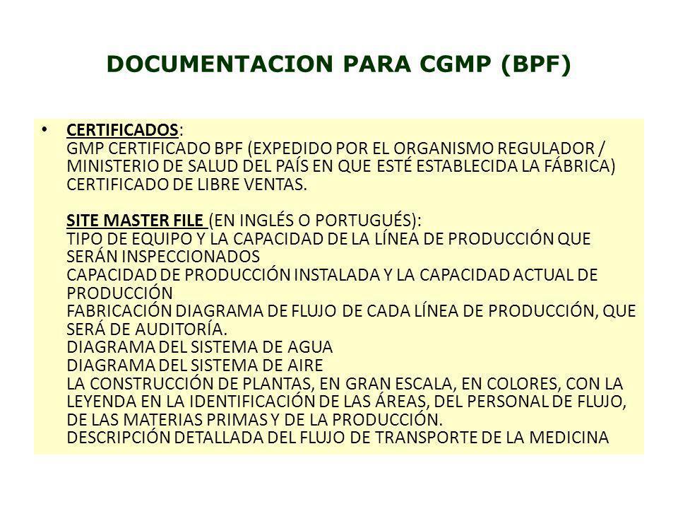 DOCUMENTACION PARA CGMP (BPF) CERTIFICADOS: GMP CERTIFICADO BPF (EXPEDIDO POR EL ORGANISMO REGULADOR / MINISTERIO DE SALUD DEL PAÍS EN QUE ESTÉ ESTABL