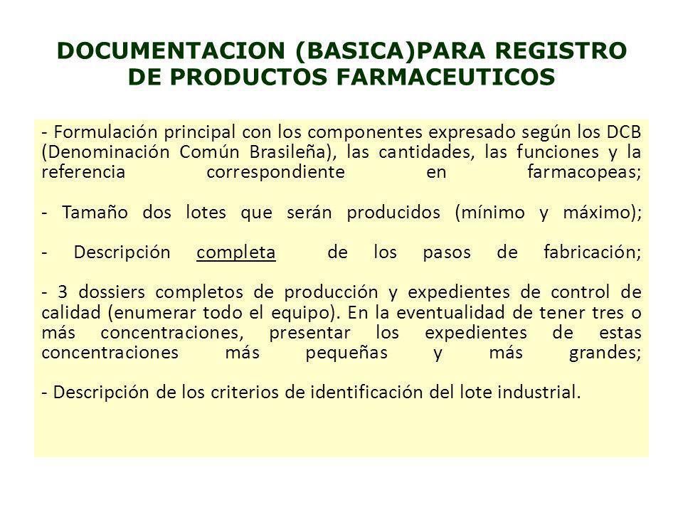DOCUMENTACION (BASICA)PARA REGISTRO DE PRODUCTOS FARMACEUTICOS - Formulación principal con los componentes expresado según los DCB (Denominación Común