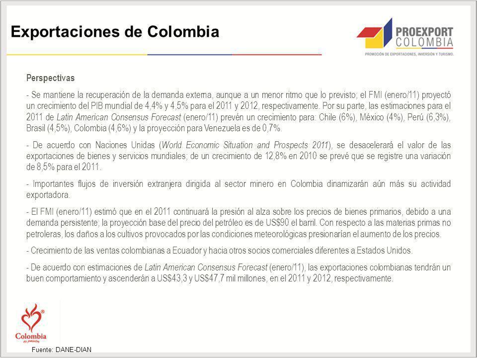 Exportaciones de Colombia Perspectivas - Se mantiene la recuperación de la demanda externa, aunque a un menor ritmo que lo previsto; el FMI (enero/11)