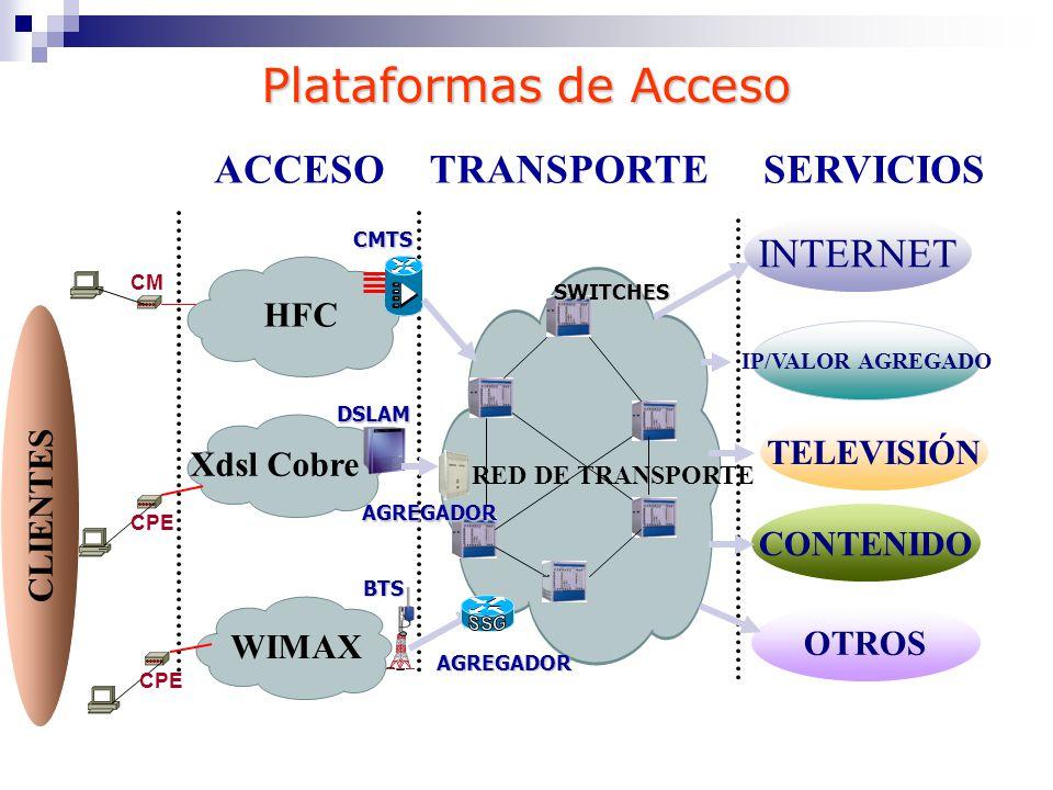 Plataformas de Acceso ACCESOTRANSPORTESERVICIOS HFC Xdsl Cobre RED DE TRANSPORTE SWITCHES CMTS DSLAM INTERNET IP/VALOR AGREGADO CONTENIDO OTROS AGREGA