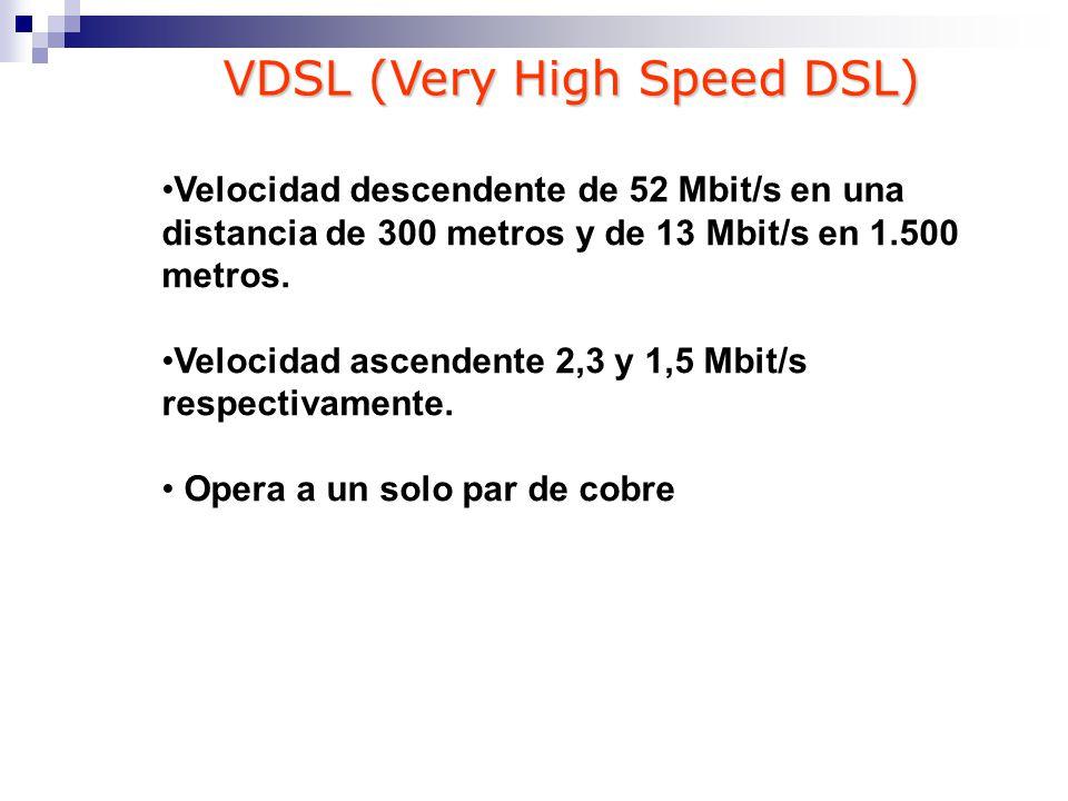 Velocidad descendente de 52 Mbit/s en una distancia de 300 metros y de 13 Mbit/s en 1.500 metros. Velocidad ascendente 2,3 y 1,5 Mbit/s respectivament