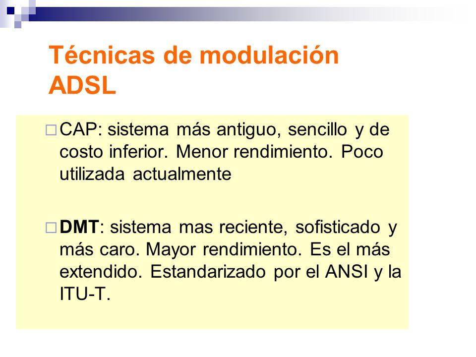 Técnicas de modulación ADSL CAP: sistema más antiguo, sencillo y de costo inferior. Menor rendimiento. Poco utilizada actualmente DMT: sistema mas rec