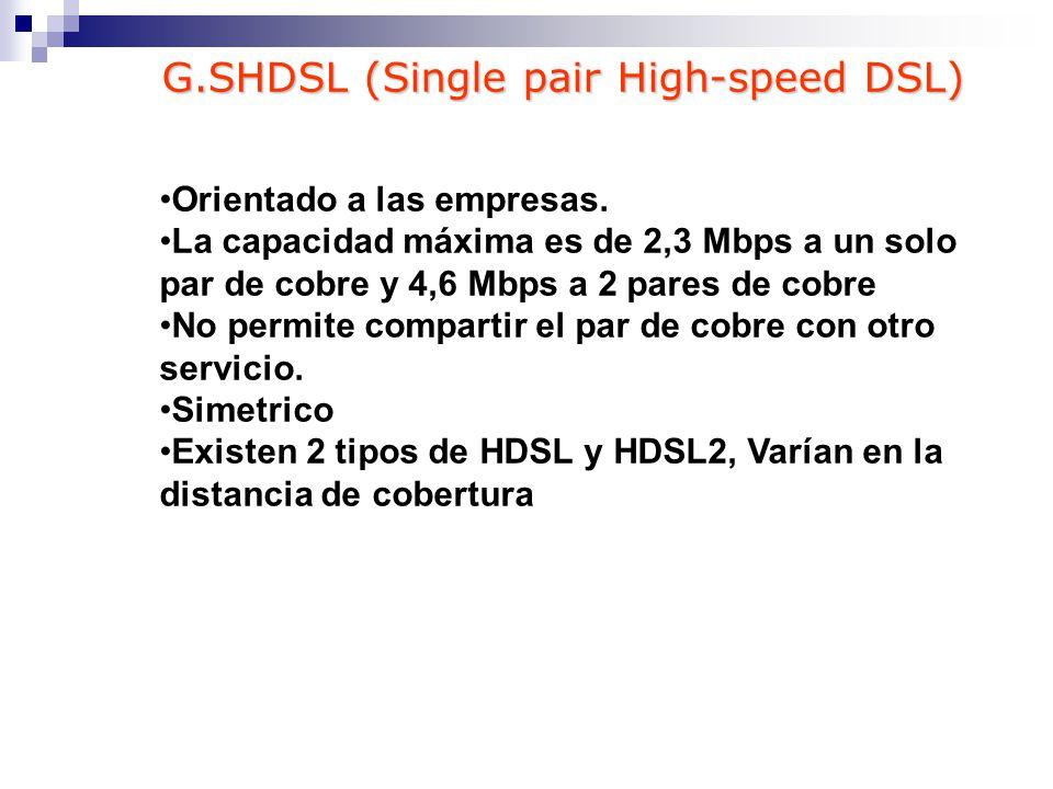 Orientado a las empresas. La capacidad máxima es de 2,3 Mbps a un solo par de cobre y 4,6 Mbps a 2 pares de cobre No permite compartir el par de cobre