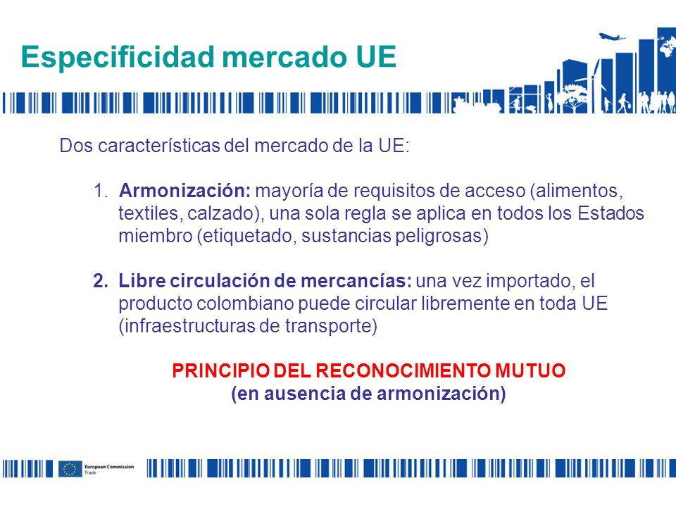 Especificidad mercado UE Dos características del mercado de la UE: 1.
