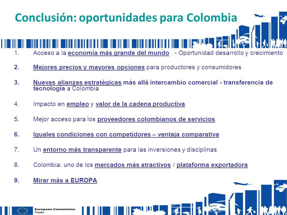 Conclusión: oportunidades para Colombia 1.Acceso a la economía más grande del mundo - Oportunidad desarrollo y crecimiento 2.Mejores precios y mayores opciones para productores y consumidores 3.Nuevas alianzas estratégicas más allá intercambio comercial - transferencia de tecnología a Colombia 4.Impacto en empleo y valor de la cadena productiva 5.Mejor acceso para los proveedores colombianos de servicios 6.Iguales condiciones con competidores – ventaja comparativa 7.Un entorno más transparente para las inversiones y disciplinas 8.Colombia: uno de los mercados más atractivos / plataforma exportadora 9.Mirar más a EUROPA