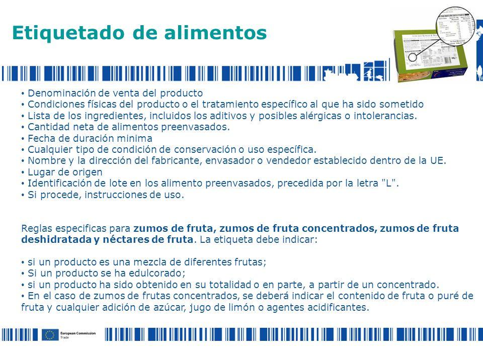 Denominación de venta del producto Condiciones físicas del producto o el tratamiento específico al que ha sido sometido Lista de los ingredientes, incluidos los aditivos y posibles alérgicas o intolerancias.