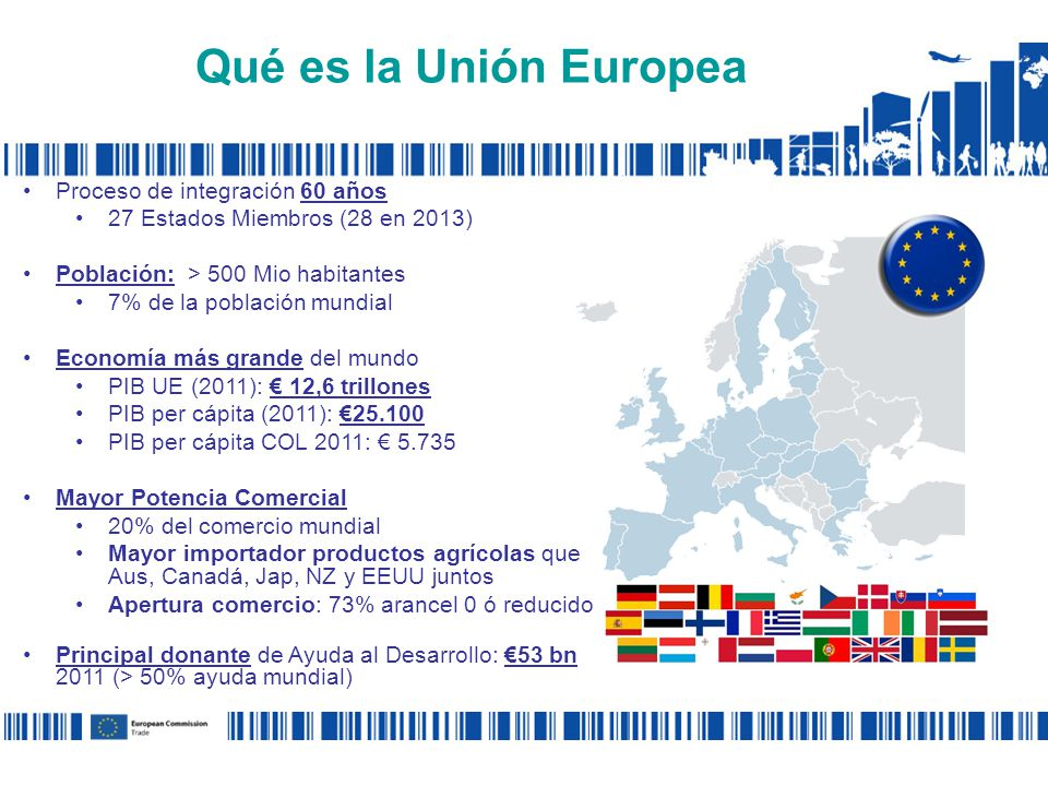 Qué es la Unión Europea Proceso de integración 60 años 27 Estados Miembros (28 en 2013) Población: > 500 Mio habitantes 7% de la población mundial Economía más grande del mundo PIB UE (2011): 12,6 trillones PIB per cápita (2011): 25.100 PIB per cápita COL 2011: 5.735 Mayor Potencia Comercial 20% del comercio mundial Mayor importador productos agrícolas que Aus, Canadá, Jap, NZ y EEUU juntos Apertura comercio: 73% arancel 0 ó reducido Principal donante de Ayuda al Desarrollo: 53 bn 2011 (> 50% ayuda mundial)