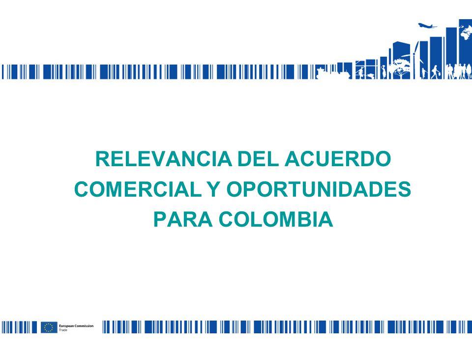 Relaciones comerciales Desde 1990 SPG: unilateral incertidumbre Disputa en la OMC – banano 2010: conclusión negociaciones de un Acuerdo Comercial Multiparte UE- Colombia y Perú Hoy: Proceso de Ratificación UE + COL http://trade.ec.europa.eu/doclib/press/index.cfm?id=691 Texto del Acuerdo:
