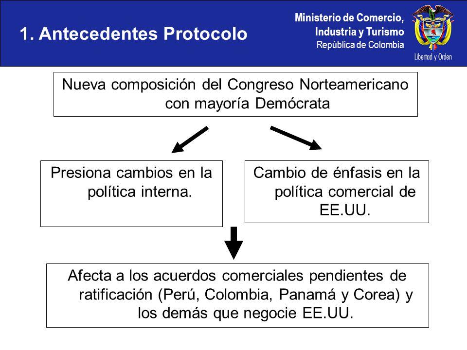 Ministerio de Comercio, Industria y Turismo República de Colombia Nueva composición del Congreso Norteamericano con mayoría Demócrata 1. Antecedentes