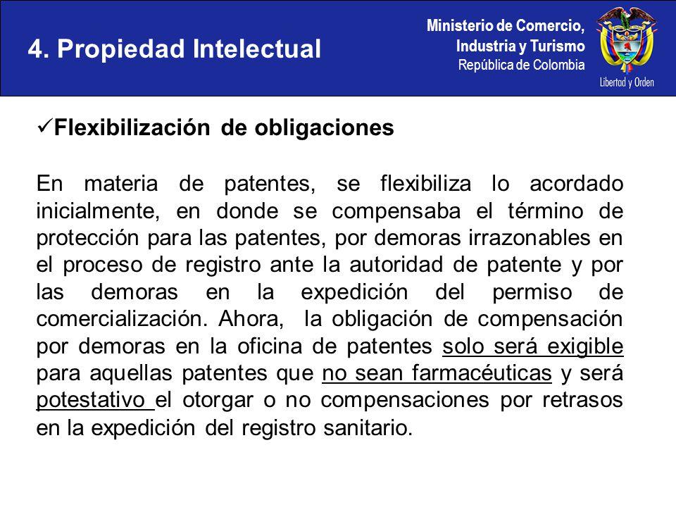 Ministerio de Comercio, Industria y Turismo República de Colombia 4. Propiedad Intelectual Flexibilización de obligaciones En materia de patentes, se