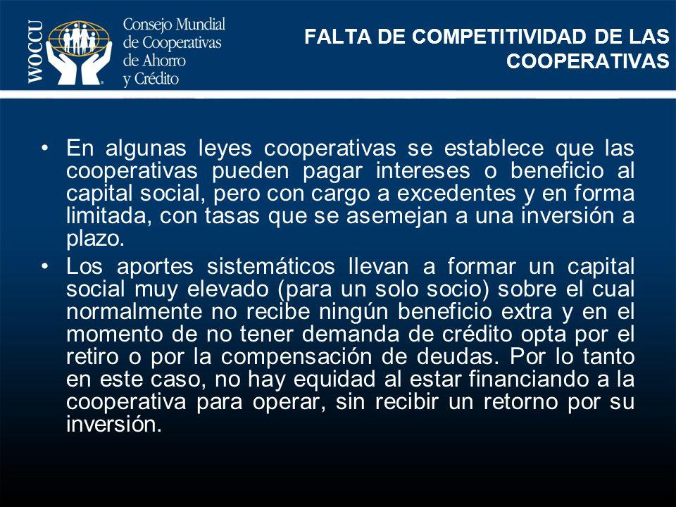 FALTA DE COMPETITIVIDAD DE LAS COOPERATIVAS En algunas leyes cooperativas se establece que las cooperativas pueden pagar intereses o beneficio al capi