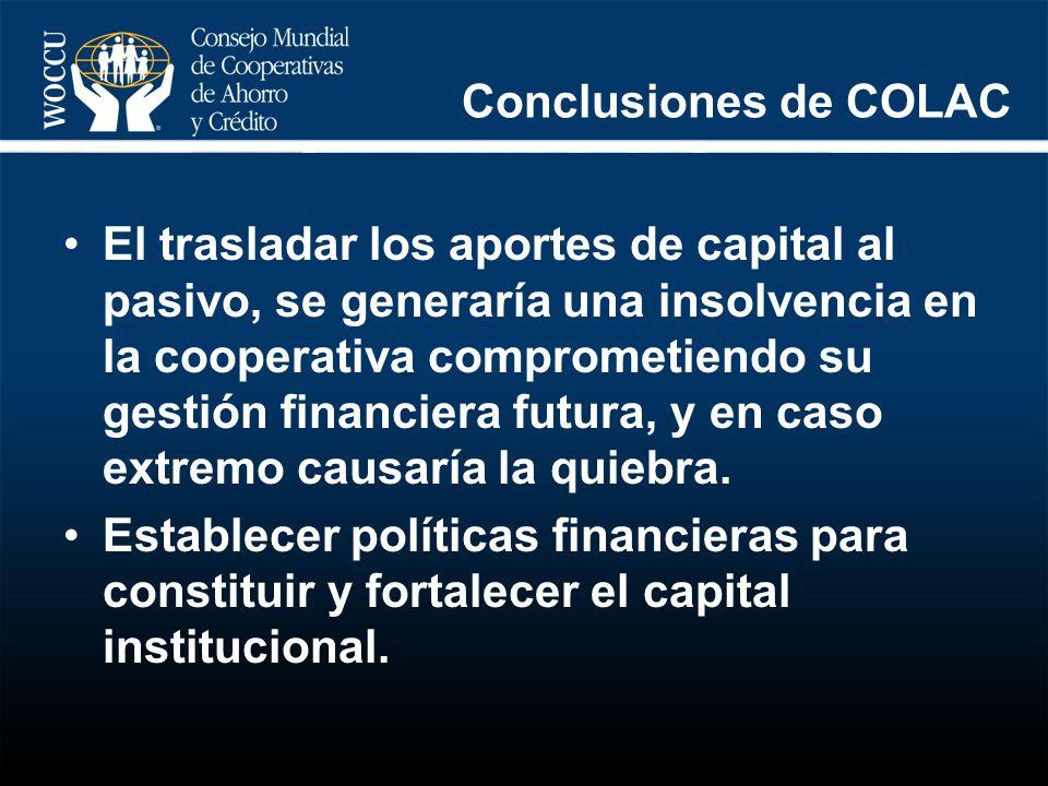 Conclusiones de COLAC El trasladar los aportes de capital al pasivo, se generaría una insolvencia en la cooperativa comprometiendo su gestión financie