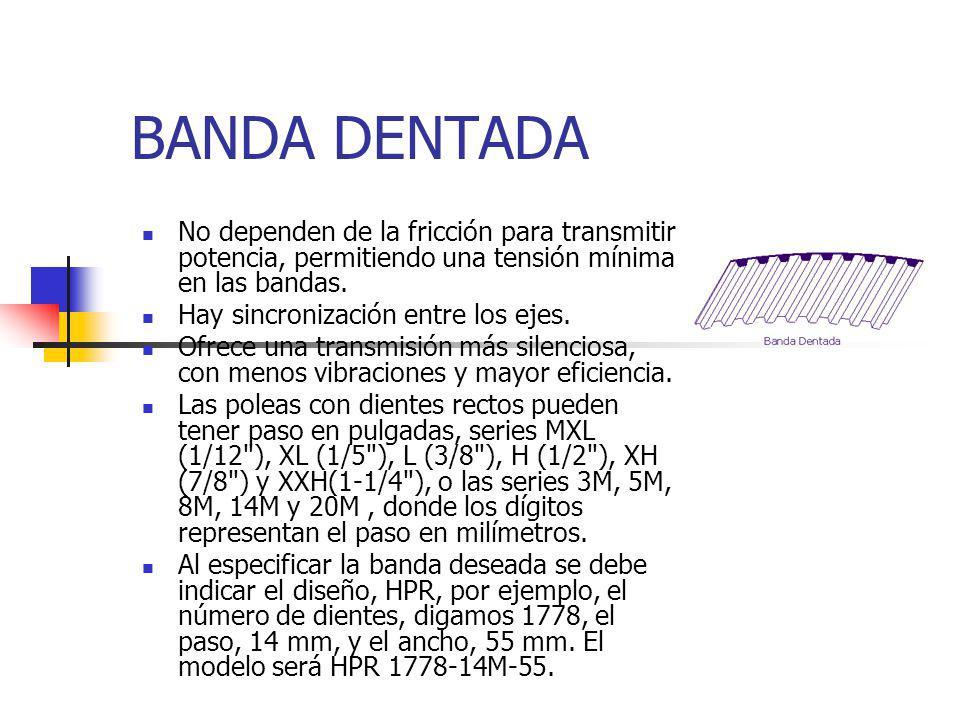 BANDAS HEXAGONALES Y DE ESLABON (O) Se fabrican también bandas hexagonales para transmitir por ambos lados y bandas de eslabones, con capacidad menor a las bandas continuas, pero que permiten reemplazarlas o ajustar la tensión, sin necesidad mover los ejes.
