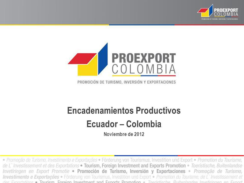 Encadenamientos Productivos Ecuador – Colombia Noviembre de 2012