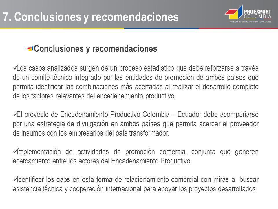 Conclusiones y recomendaciones Los casos analizados surgen de un proceso estadístico que debe reforzarse a través de un comité técnico integrado por l