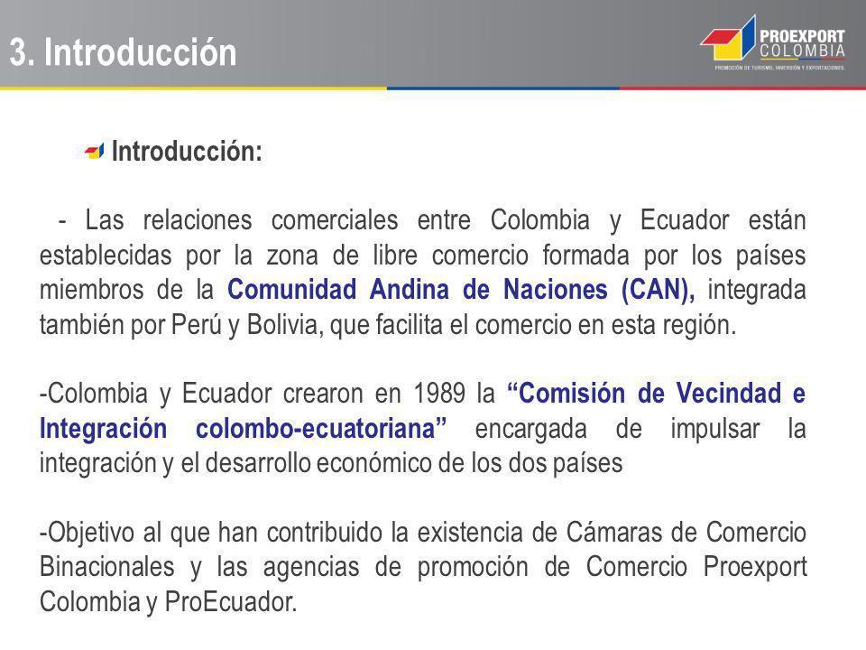 Introducción: - Las relaciones comerciales entre Colombia y Ecuador están establecidas por la zona de libre comercio formada por los países miembros de la Comunidad Andina de Naciones (CAN), integrada también por Perú y Bolivia, que facilita el comercio en esta región.