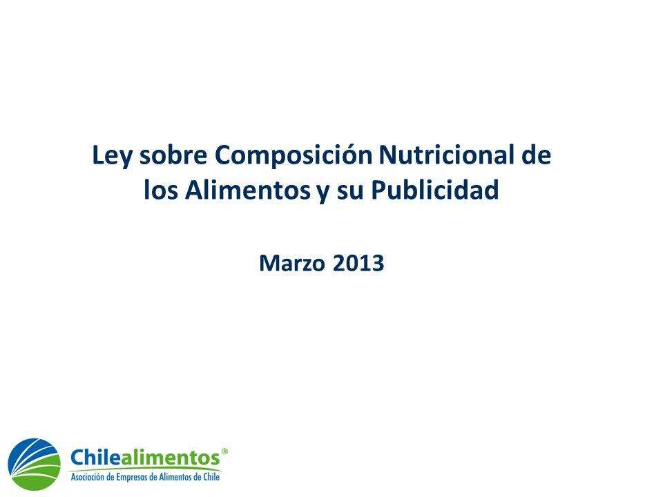 Ley composición nutricional Antecedentes generales La ley de Composición Nutricional de los Alimentos y su Publicidad (ley 20.606,) ingresó al parlamento chileno en marzo de 2007, durante el gobierno de Michelle Bachelet.