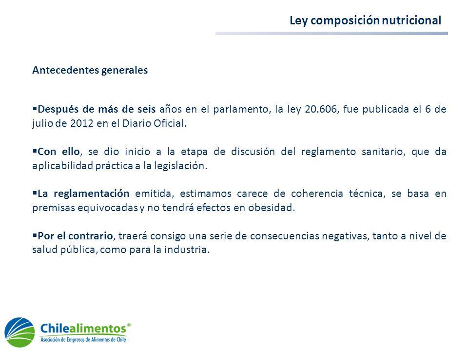 Ley composición nutricional Antecedentes generales Después de más de seis años en el parlamento, la ley 20.606, fue publicada el 6 de julio de 2012 en