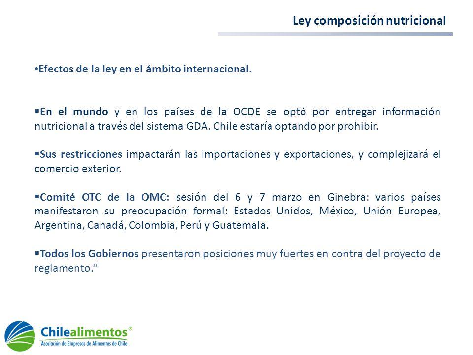 Ley composición nutricional Efectos de la ley en el ámbito internacional. En el mundo y en los países de la OCDE se optó por entregar información nutr