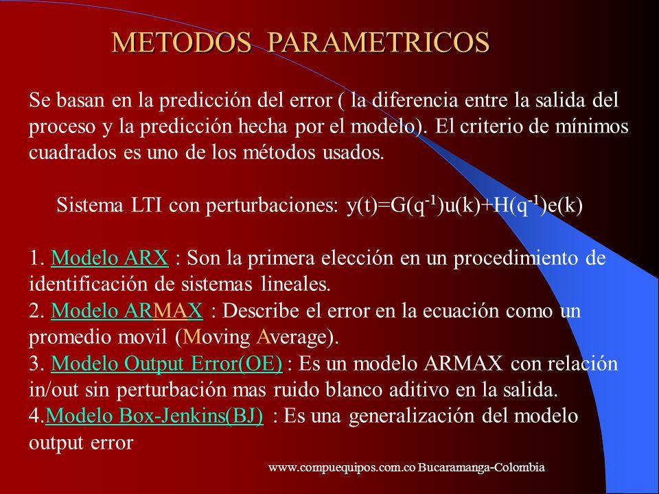 METODOS PARAMETRICOS Se basan en la predicción del error ( la diferencia entre la salida del proceso y la predicción hecha por el modelo). El criterio