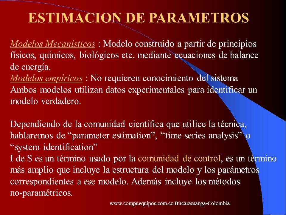 Modelos mecanísticos versus modelos tipo black-box MecanísticoTipo black-box Tiempo de desarrolloLargoCorto ParámetrosSignificadoConstantes sin concretosignificado ExtrapolableSiNo ComplejidadComplejoSimple(lineal) (a menudo no-lineal) www.compuequipos.com.co Bucaramanga-Colombia