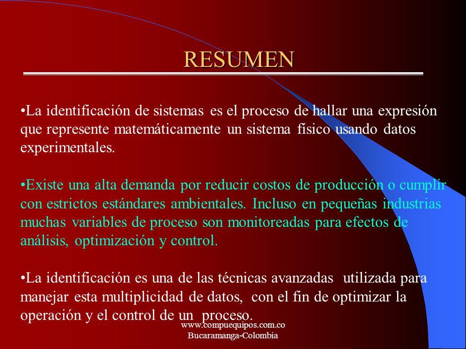 RESUMEN RESUMEN La identificación de sistemas es el proceso de hallar una expresión que represente matemáticamente un sistema físico usando datos expe