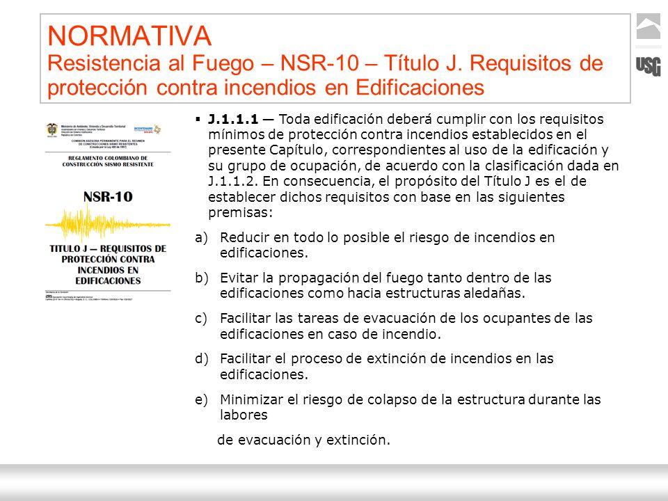 Aquí va el título de la presentación Ternium | Nombre Autor 13 NORMATIVA Resistencia al Fuego – NSR-10 – Título J. Requisitos de protección contra inc