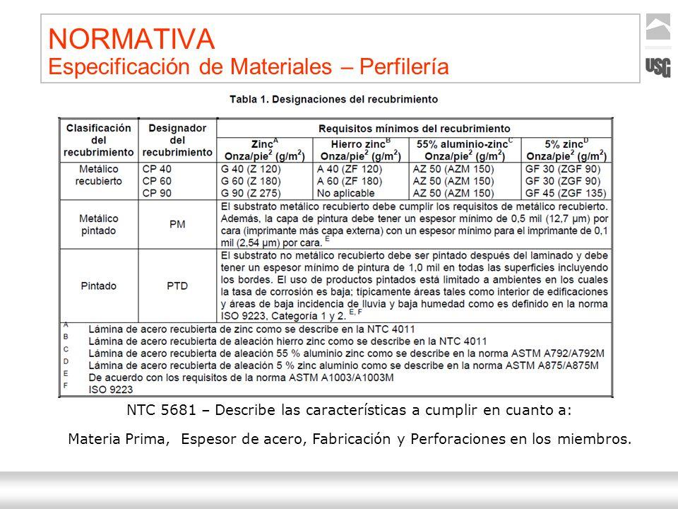 Aquí va el título de la presentación Ternium | Nombre Autor 22 NORMATIVA Especificación de Materiales – Perfilería NTC 5681 – Describe las característ