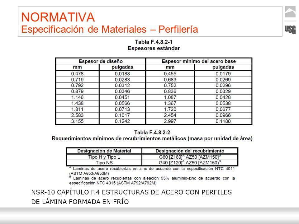 Aquí va el título de la presentación Ternium | Nombre Autor 24 NORMATIVA Especificación de Materiales – Perfilería NSR-10 CAPÍTULO F.4 ESTRUCTURAS DE