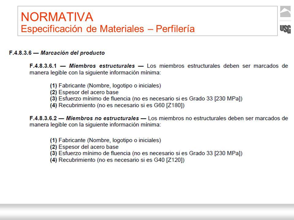 Aquí va el título de la presentación Ternium | Nombre Autor 31 NORMATIVA Especificación de Materiales – Perfilería