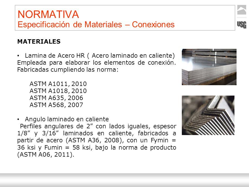 Aquí va el título de la presentación Ternium | Nombre Autor 35 NORMATIVA Especificación de Materiales – Conexiones MATERIALES Lamina de Acero HR ( Ace