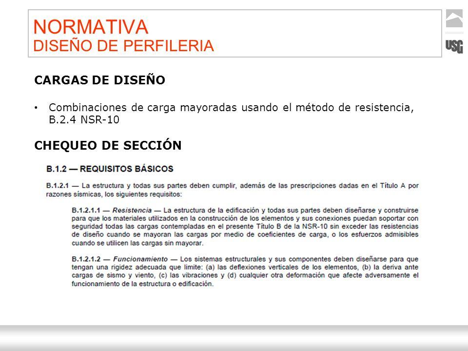 Aquí va el título de la presentación Ternium | Nombre Autor 41 NORMATIVA DISEÑO DE PERFILERIA CARGAS DE DISEÑO Combinaciones de carga mayoradas usando