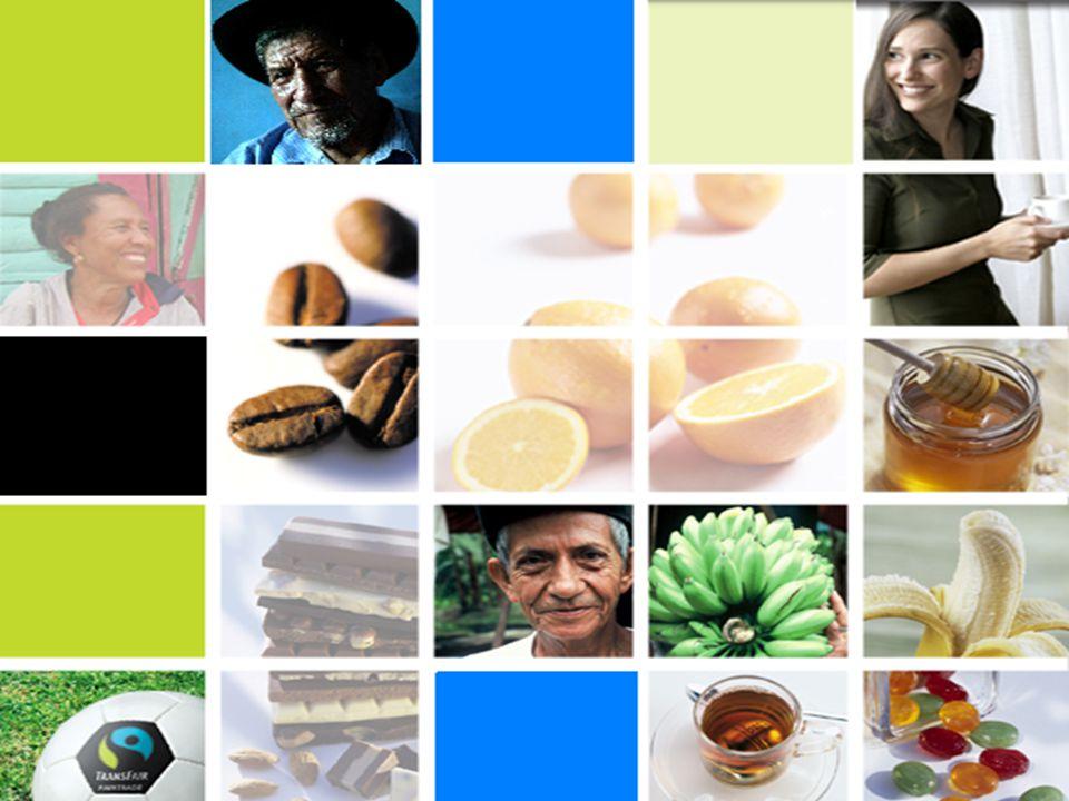 Productos en Comercio Justo… Cardamono Miel Mandarina en jugo Maracuyá en jugo Banano fresco, deshidratado y en puré Caña de azúcar : blanca, rubia e integral Cacao en grano, licor, polvo y manteca Café verde