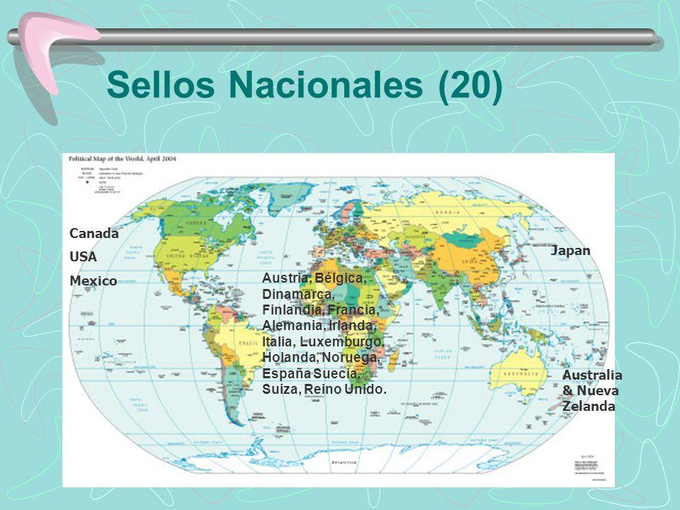 Sellos Nacionales (20) Canada USA Mexico Australia & Nueva Zelanda Japan Austria, Bélgica, Dinamarca, Finlandia, Francia, Alemania, Irlanda, Italia, L