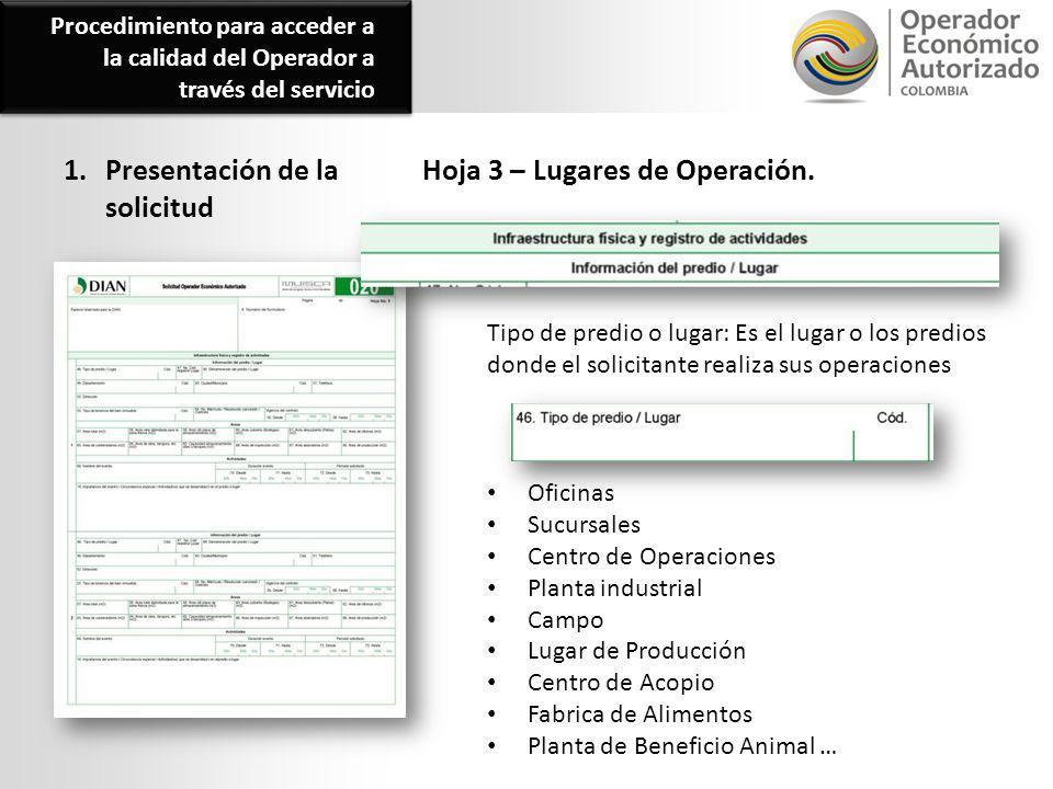 1. Presentación de la solicitud Hoja 3 – Lugares de Operación. Oficinas Sucursales Centro de Operaciones Planta industrial Campo Lugar de Producción C