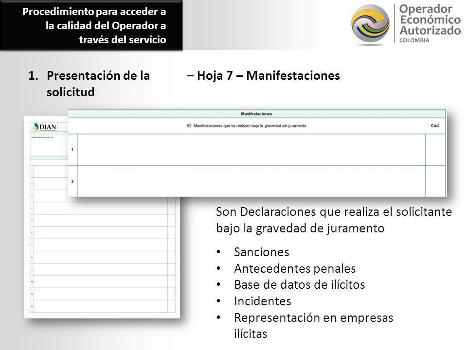 1. Presentación de la solicitud – Hoja 7 – Manifestaciones Sanciones Antecedentes penales Base de datos de ilícitos Incidentes Representación en empre