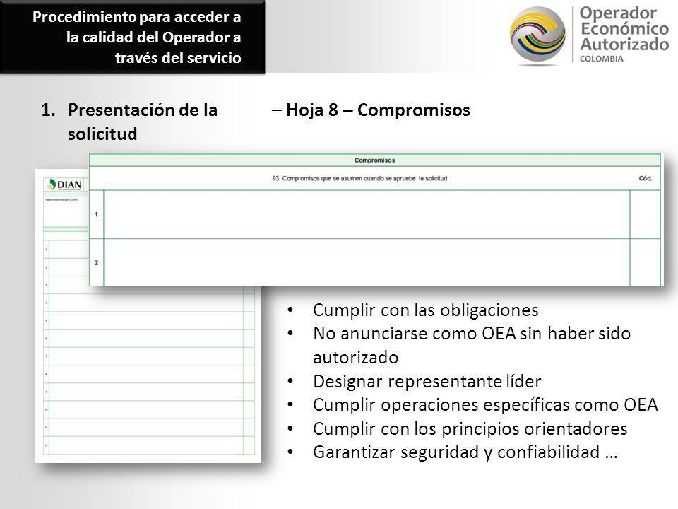 1. Presentación de la solicitud – Hoja 8 – Compromisos Cumplir con las obligaciones No anunciarse como OEA sin haber sido autorizado Designar represen