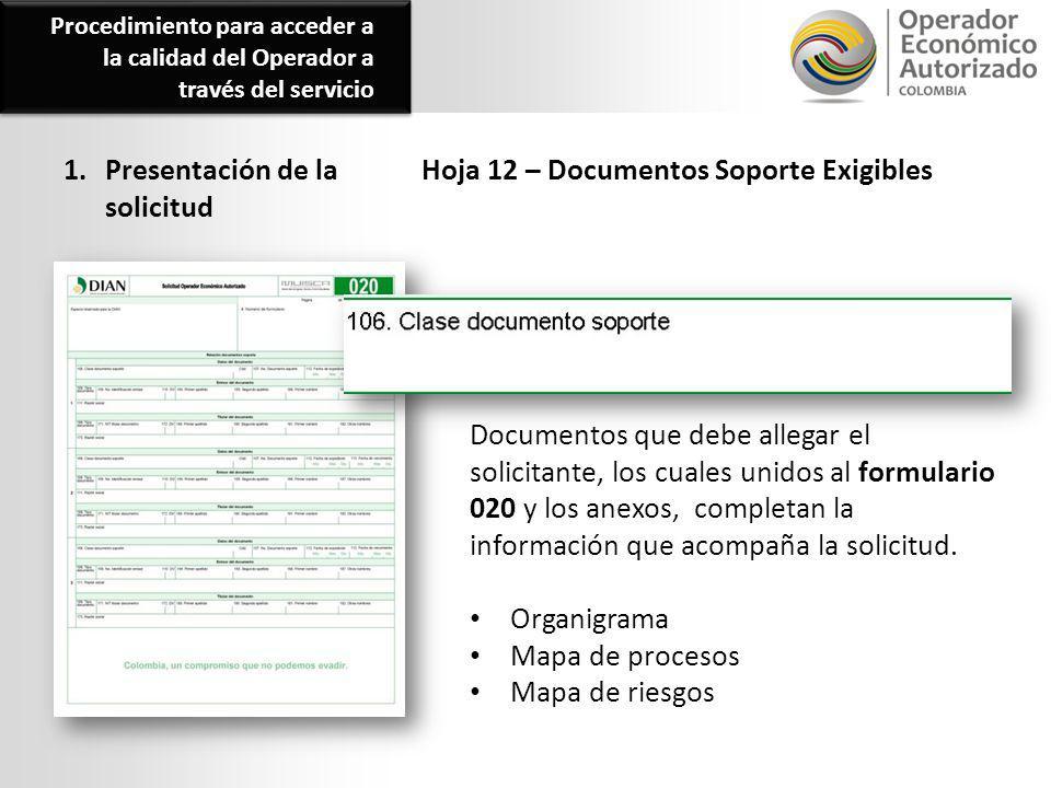 1. Presentación de la solicitud Hoja 12 – Documentos Soporte Exigibles Documentos que debe allegar el solicitante, los cuales unidos al formulario 020