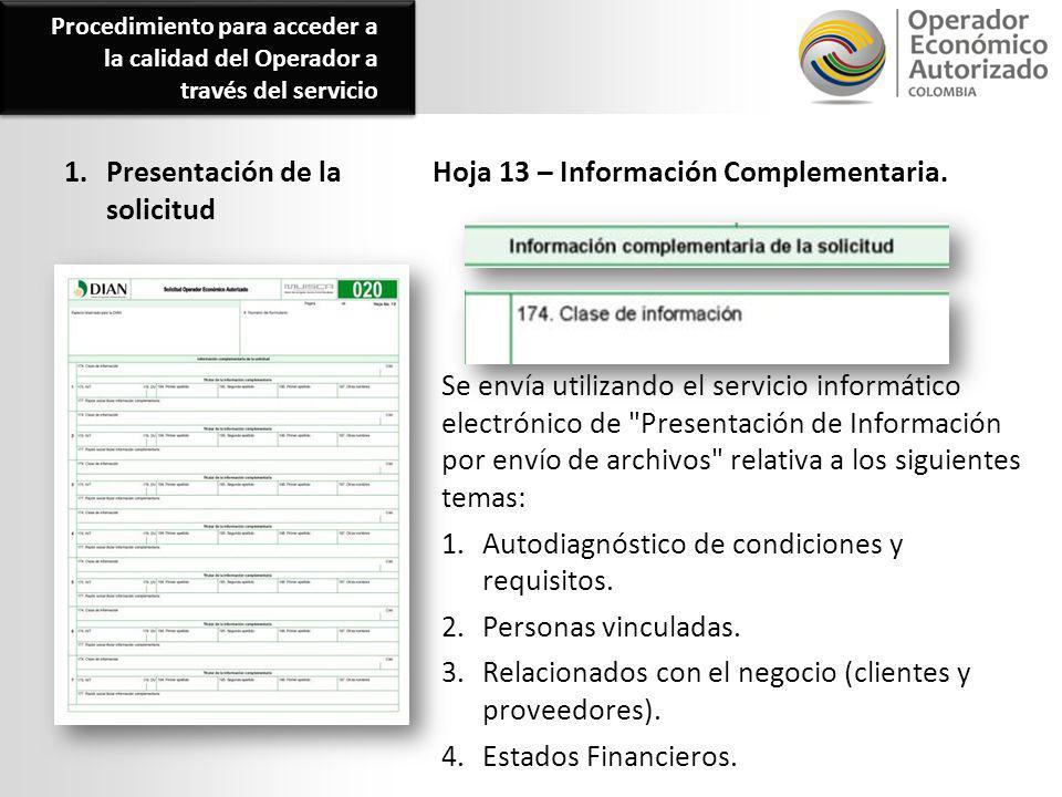 1. Presentación de la solicitud Hoja 13 – Información Complementaria. Se envía utilizando el servicio informático electrónico de