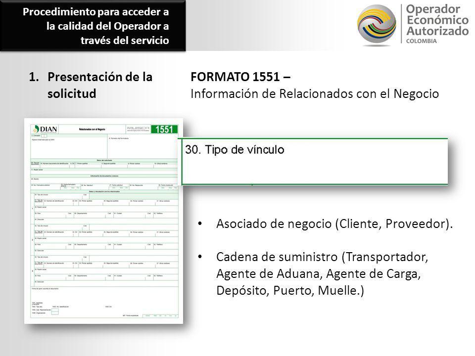 1. Presentación de la solicitud FORMATO 1551 – Información de Relacionados con el Negocio Procedimiento para acceder a la calidad del Operador a travé