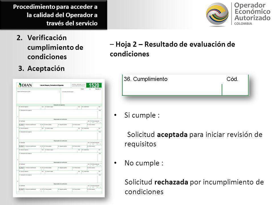 2. Verificación cumplimiento de condiciones 3. Aceptación – Hoja 2 – Resultado de evaluación de condiciones Si cumple : Solicitud aceptada para inicia