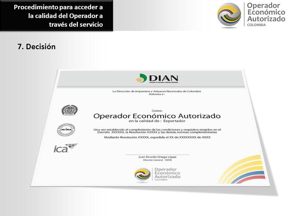 7. Decisión Procedimiento para acceder a la calidad del Operador a través del servicio