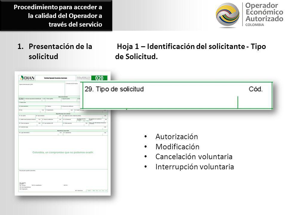 1. Presentación de la solicitud Hoja 1 – Identificación del solicitante - Tipo de Solicitud. Autorización Modificación Cancelación voluntaria Interrup