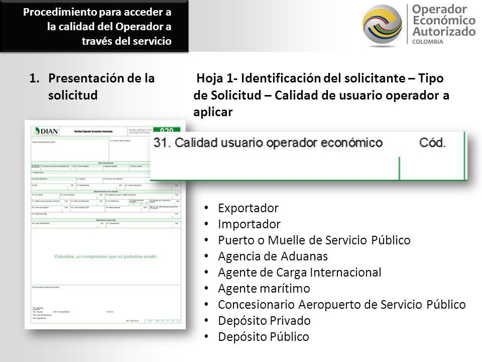 1. Presentación de la solicitud Hoja 1- Identificación del solicitante – Tipo de Solicitud – Calidad de usuario operador a aplicar Exportador Importad