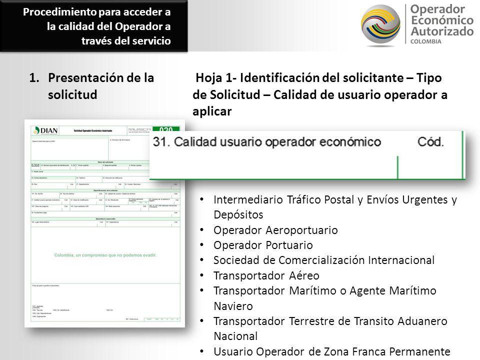 1. Presentación de la solicitud Hoja 1- Identificación del solicitante – Tipo de Solicitud – Calidad de usuario operador a aplicar Procedimiento para