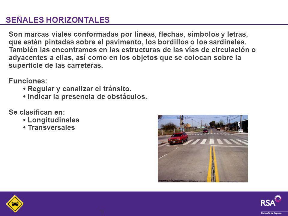13 SEÑALES HORIZONTALES Son marcas viales conformadas por líneas, flechas, símbolos y letras, que están pintadas sobre el pavimento, los bordillos o l