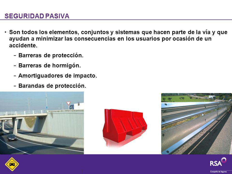 4 SEGURIDAD ACTIVA Son todos los elementos, conjuntos y sistemas que hacen parte de la vía y que ayudan a evitar la ocurrencia de un accidente.