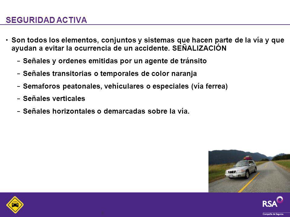 4 SEGURIDAD ACTIVA Son todos los elementos, conjuntos y sistemas que hacen parte de la vía y que ayudan a evitar la ocurrencia de un accidente. SEÑALI