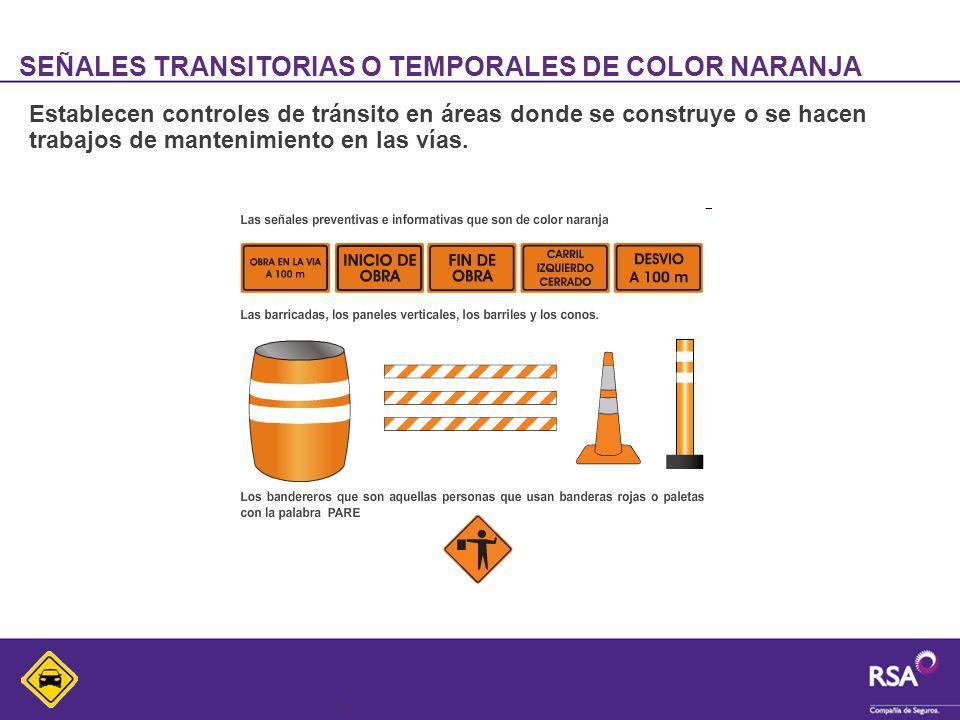 6 SEÑALES TRANSITORIAS O TEMPORALES DE COLOR NARANJA Establecen controles de tránsito en áreas donde se construye o se hacen trabajos de mantenimiento
